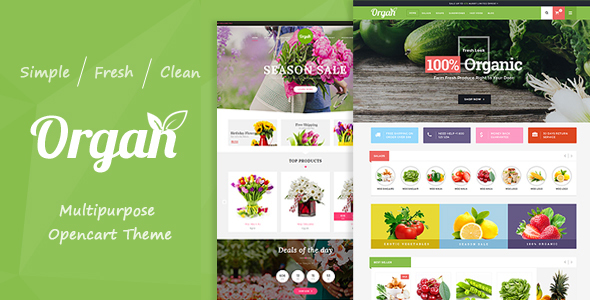 Image of Organ - Organic Food & Flower Store Responsive OpenCart Theme