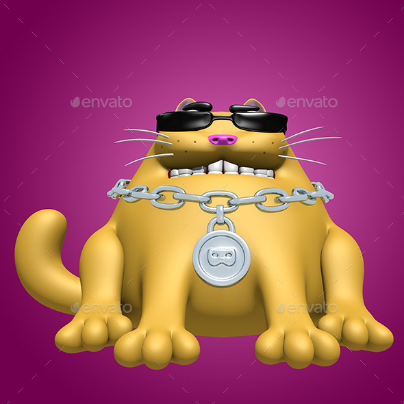 Cute Orange Fat Cat in Black Glasses and Silver Medallion - Characters 3D Renders