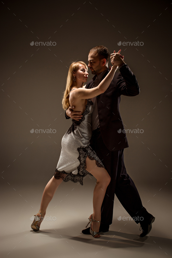 The man and the woman dancing argentinian tango - Stock Photo - Images