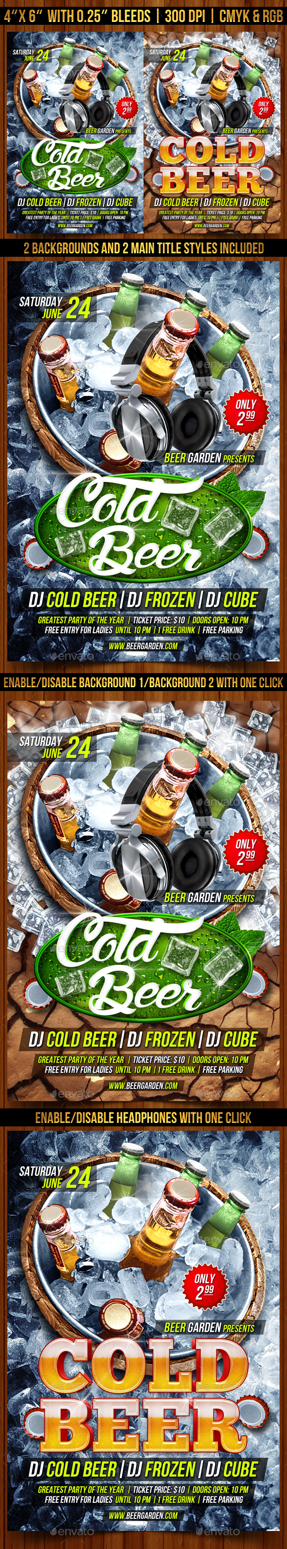 Cold Beer Flyer Template - Clubs & Parties Events