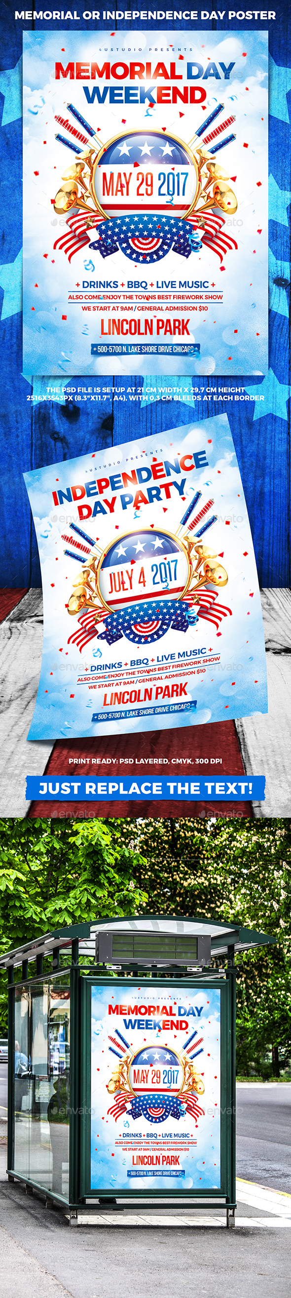 Memorial or Independence Day Party Poster vol.3 - Holidays Events