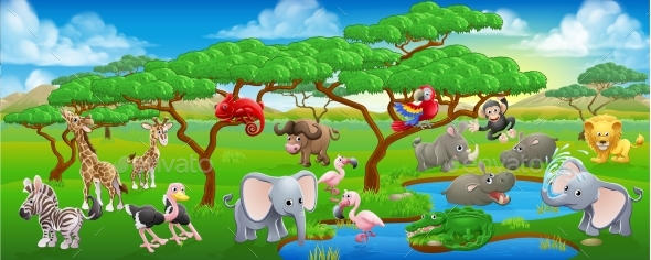 Cute Cartoon Safari Animal Scene Landscape - Animals Characters