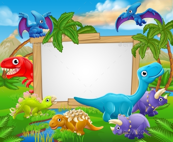 Cartoon Dinosaurs Sign - Animals Characters