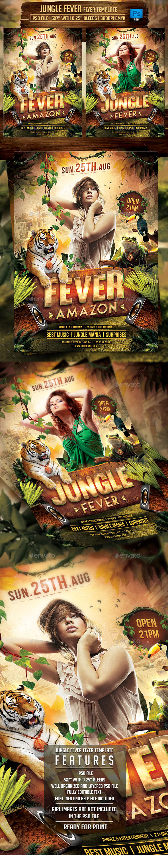 Jungle Fever Flyer Template - Clubs & Parties Events