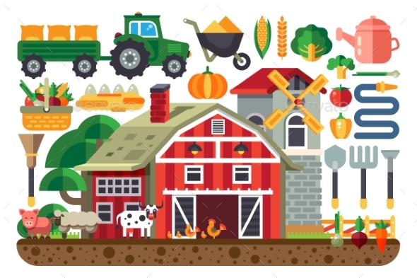 Stock Vector Illustration Set of Icons for Farm - Industries Business