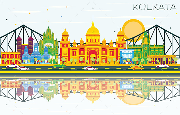 Kolkata Skyline with Color Landmarks, Blue Sky and Reflections - Buildings Objects