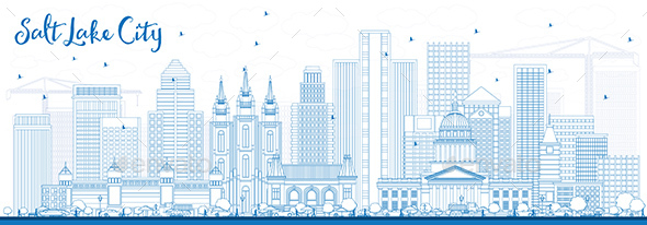 Outline Salt Lake City Skyline with Blue Buildings - Buildings Objects