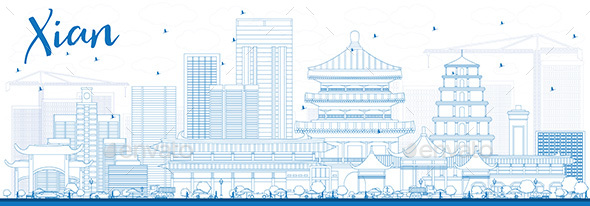 Outline Xian Skyline with Blue Buildings - Buildings Objects