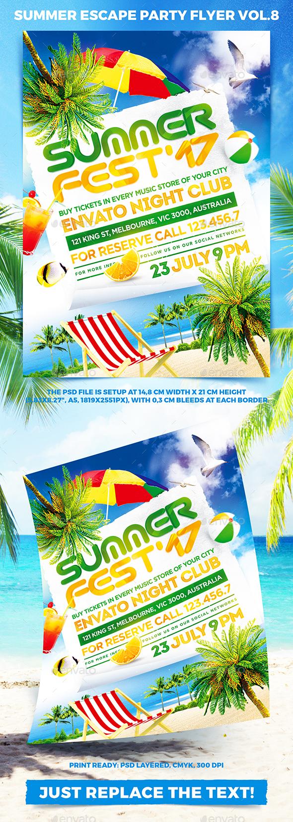Summer Escape Party Flyer vol.8 - Clubs & Parties Events