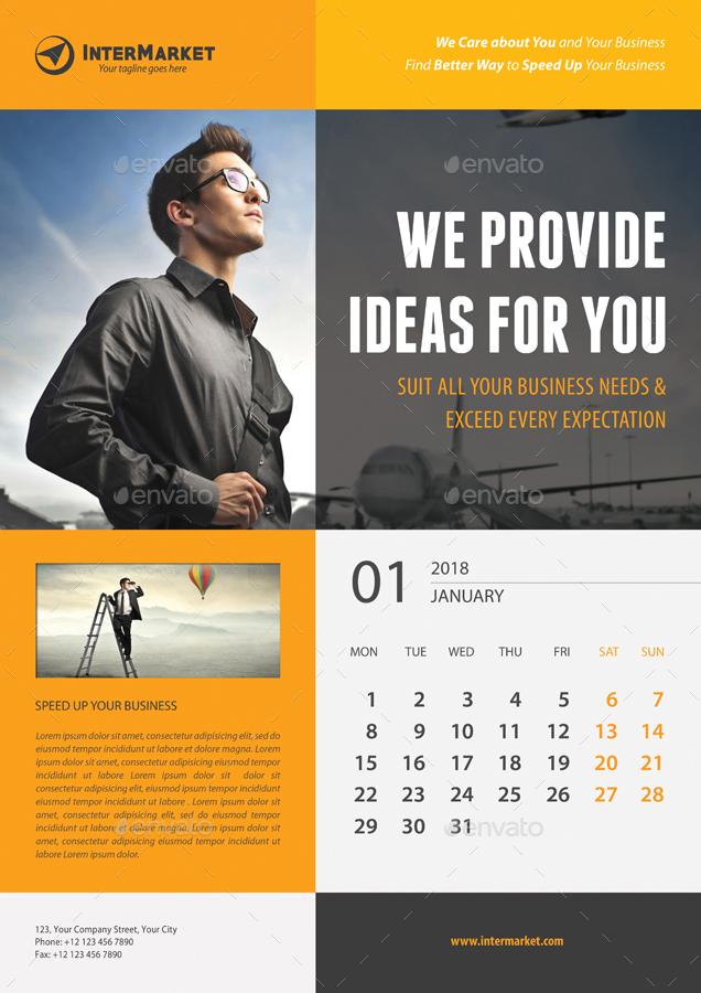 Corporate Wall Calendar 2018 V01 by rapidgraf | GraphicRiver