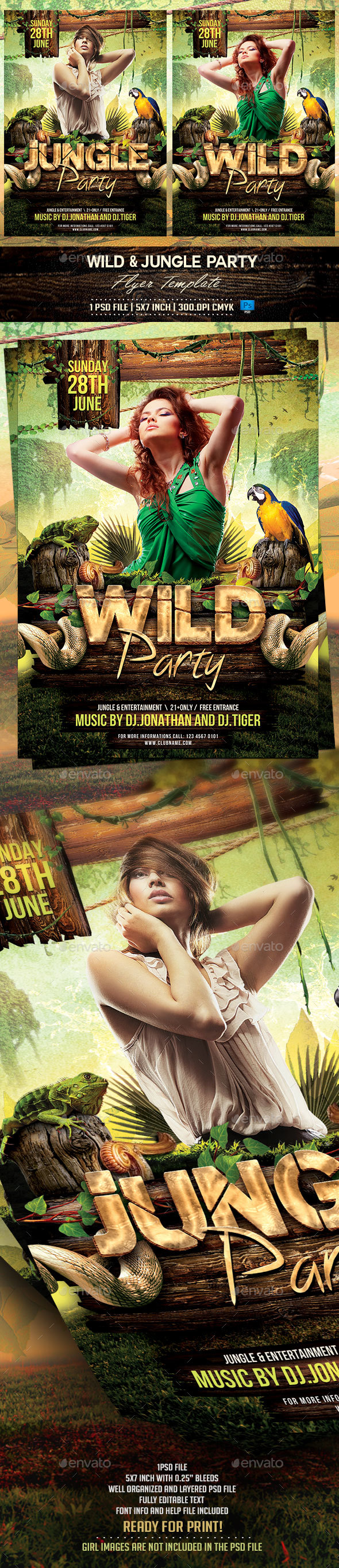 Jungle and Wild Flyer Template - Flyers Print Templates