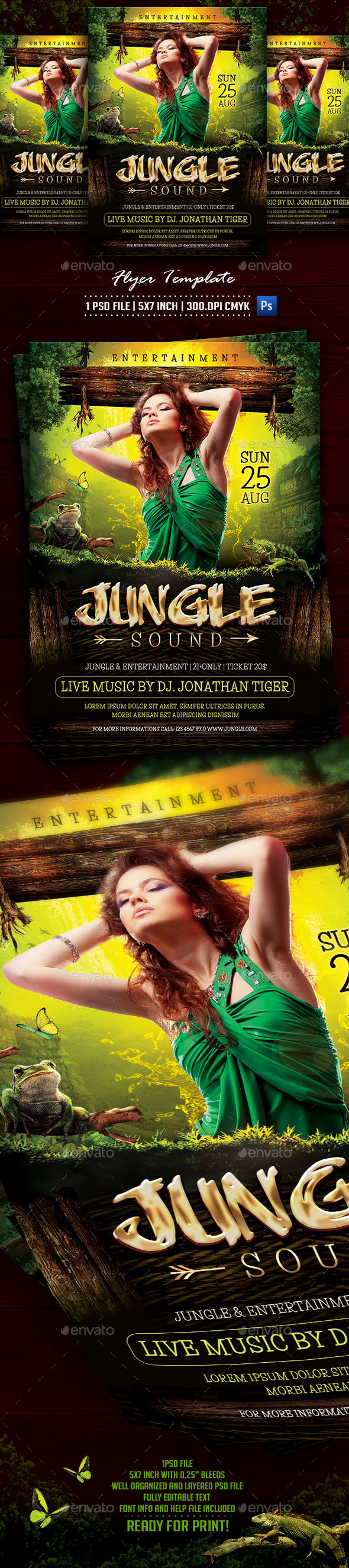 Jungle Sound Flyer Template - Flyers Print Templates