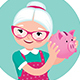 Grandmother in an Apron Shakes a Piggy Bank - GraphicRiver Item for Sale