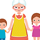 Grandmother Holding the Hands of Young Grandchildren - GraphicRiver Item for Sale
