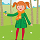 Girl Walks in the Spring Forest and Feeds the Birds - GraphicRiver Item for Sale
