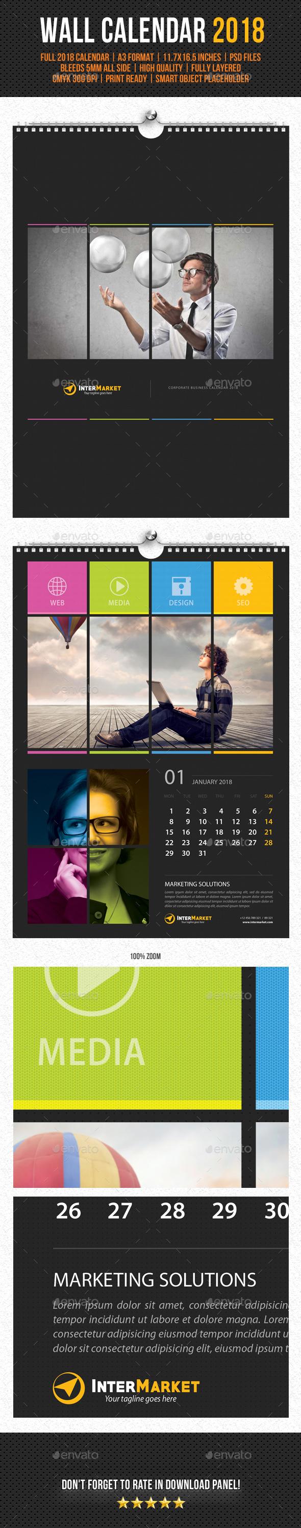 Corporate Wall Calendar 2018 V04 by rapidgraf | GraphicRiver