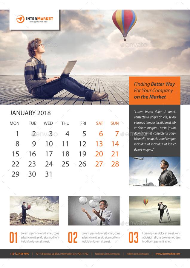 Corporate Wall Calendar 2018 V05 by rapidgraf | GraphicRiver