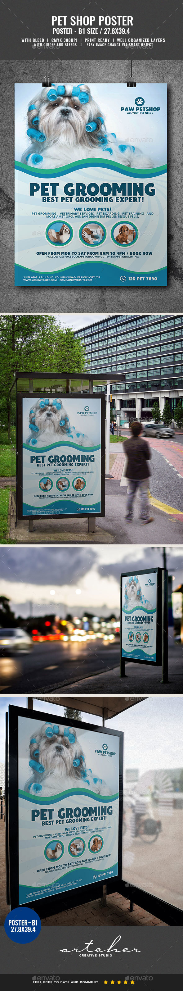 Pet Grooming Services Poster - Signage Print Templates