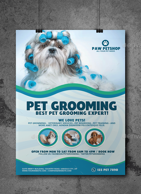 Pet Grooming Services Poster By Artchery Graphicriver
