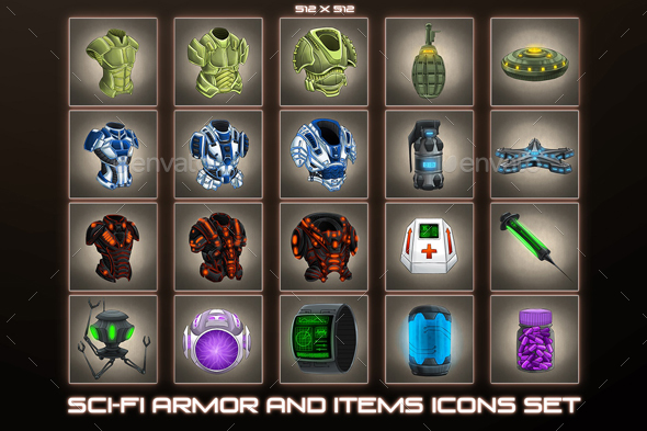 20 Sci-Fi Item and Armor Icons - Miscellaneous Game Assets
