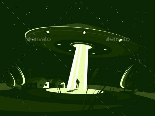 Spaceship Abducts Man - Miscellaneous Vectors