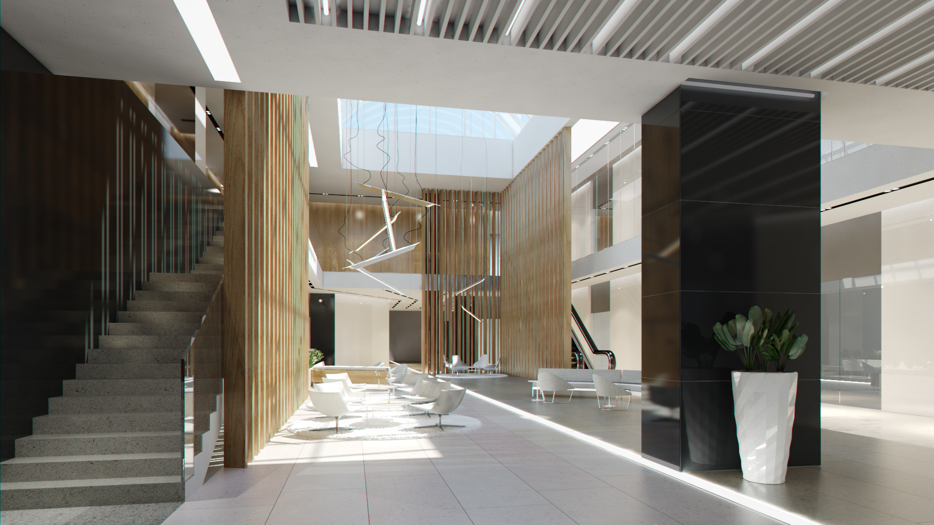 Lobby hall foyer office commercial business scene interior for Office design 3d