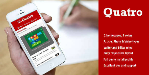 Quatro - News & Magazine Drupal 8 Theme - News / Editorial Blog / Magazine