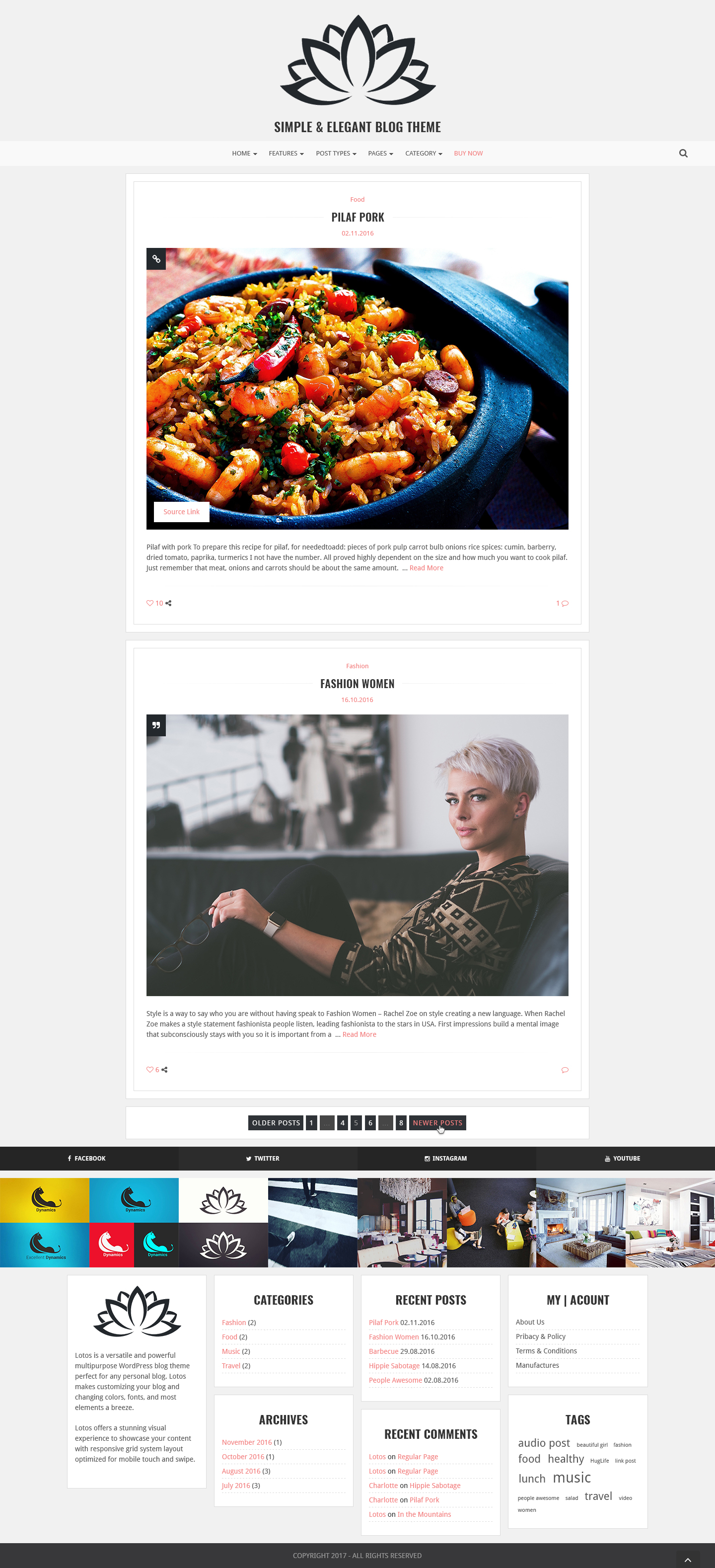 lotos simple blog theme by excellent dynamics themeforest