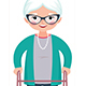 Old Smiling Woman Leaning on a Walker - GraphicRiver Item for Sale