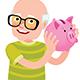Senior Man Holding a Piggy Bank - GraphicRiver Item for Sale