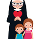 Senior Nun and Children Girl and Boy - GraphicRiver Item for Sale