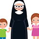 Senior Nun Holding Hands with Girl and Boy - GraphicRiver Item for Sale