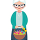 Senior Woman Holding a Basket Full of Easter Eggs - GraphicRiver Item for Sale
