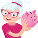 Senior Woman Holding a Piggy Bank for Money - GraphicRiver Item for Sale