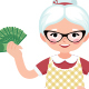 Senior Woman Housewife Holding a Bundle of Money - GraphicRiver Item for Sale
