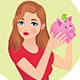 Young Woman Holding and Shaking a Piggy Bank - GraphicRiver Item for Sale