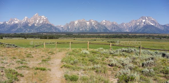 Rocky Mountains Grand Tetons Mount Moran Rural Wyoming - Stock Photo - Images