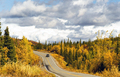 Truck Travels Road Alaska Wilderness Fall Color Two Lane Highway - PhotoDune Item for Sale