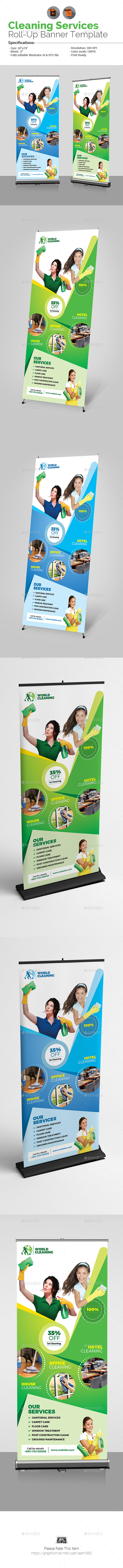 Cleaning Services Roll-Up Banner - Signage Print Templates