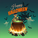 Illustration for Halloween with a Bonfire, a Skeleton, Ghosts and Bats - GraphicRiver Item for Sale