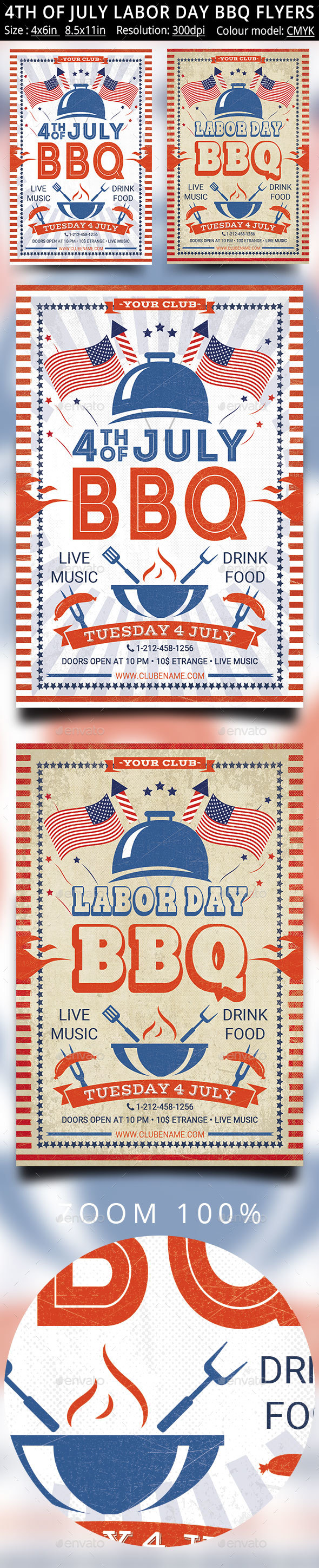 4th of July Labor Day BBQ Flyers - Events Flyers