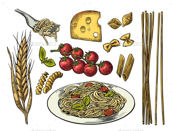 Pasta Set with Tomato Branch, Cheese and Ear of Wheat - Food Objects