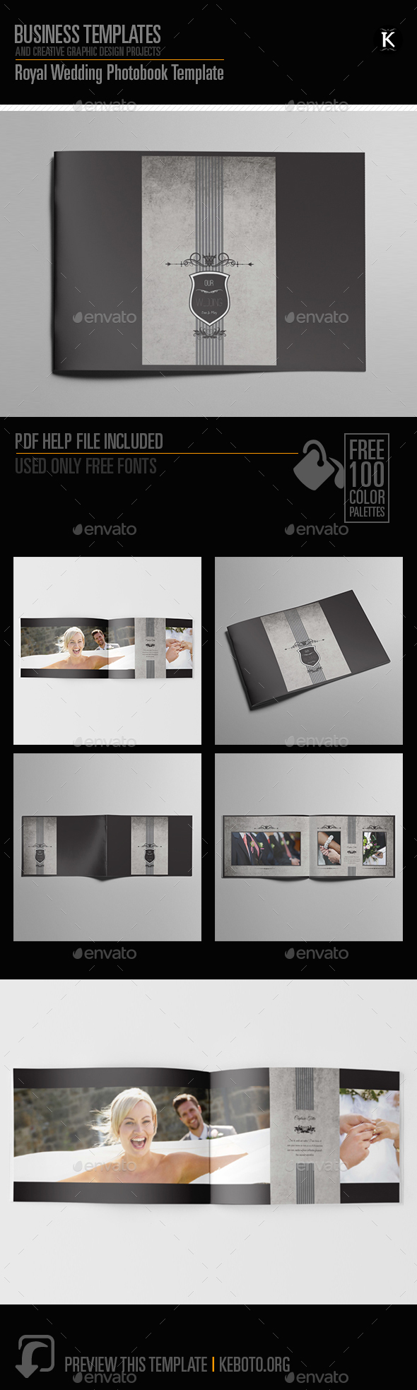 Royal Wedding Photobook Template - Photo Albums Print Templates