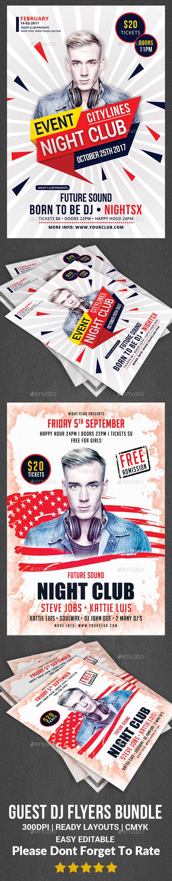 Guest Dj Flyers Bundle Print Templates - Clubs & Parties Events