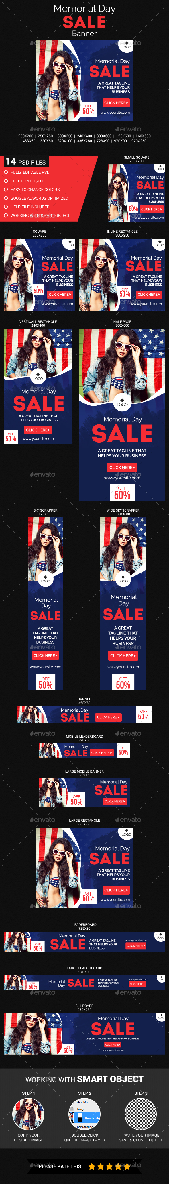 Memorial Day Sale - Banners & Ads Web Elements