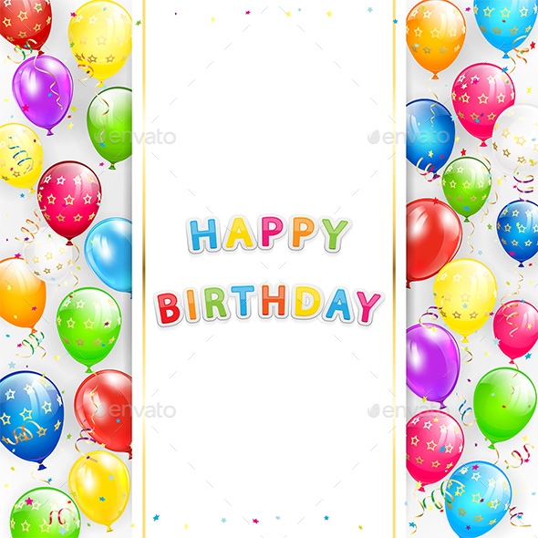 Birthday Card with Balloons and Confetti on White Background - Birthdays Seasons/Holidays