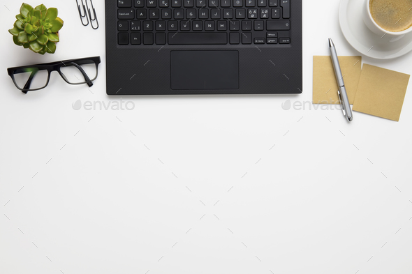 Laptop With Eyeglasses, Coffee Cup And Adhesive Notes On Desk - Stock Photo - Images