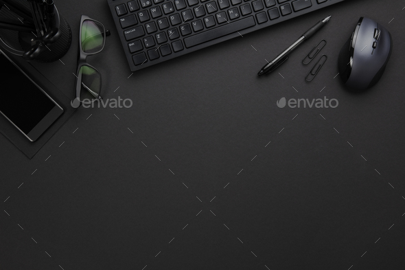 Office Equipment With Computer Keyboard And Mouse On Gray Desk - Stock Photo - Images