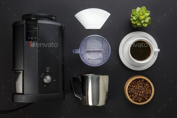 Coffee Maker With Filter And Cup On Gray Background - Stock Photo - Images