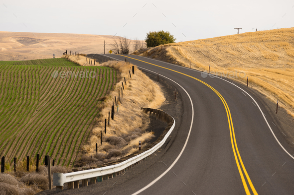 Open Road Two Lane Highway Oregon State USA - Stock Photo - Images